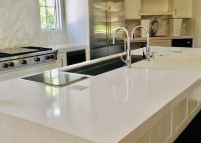 Modern Luxury Kitchen with White Natural Stone Countertops