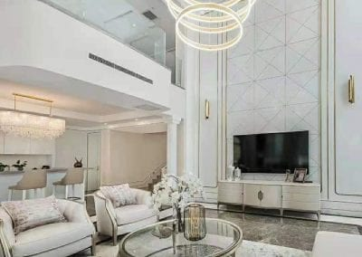 Luxury White Living Room with Natural Stone Floors and Walls